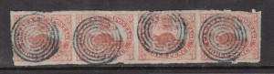 Canada #1 VF Used Strip Of Four **With Certificate**