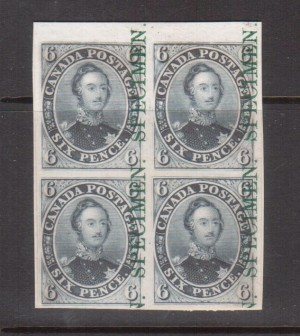 Canada #2TCvi XF Plate Proof India Paper On Card With Green Specimen Block