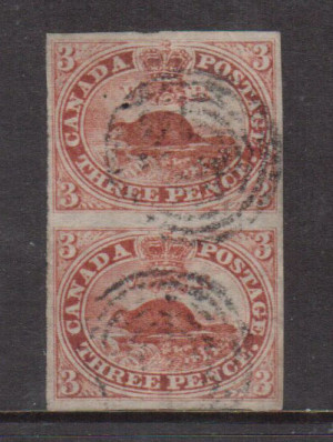 Canada #1 XF Used Pair On Laid Paper **With Certificate**