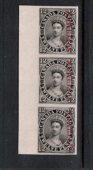 Canada #3Pi Superb Sheet Margin Proof Vertical Strip Of Three India On Card