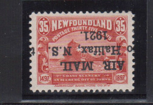 Newfoundland #C3c VF Mint Inverted Overprint **With Certificate**