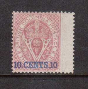 British Columbia #10 Mint **With Certificate**