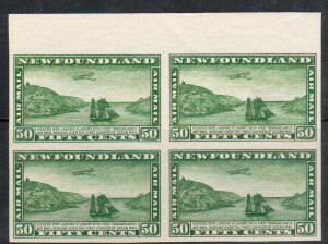 Newfoundland #C7c XF/NH Unwatermarked Imperf Block **With Cert.**