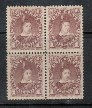 Newfoundland #41 XF/NH Block **With Certificate**