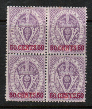 British Columbia #12 VF Mint Block **With Certificate**