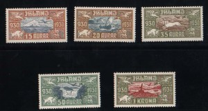 Iceland #C4 - #C8 VF/NH Set