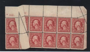 USA #499 Mint Dramatic Pre Printing Fold Block Of 10