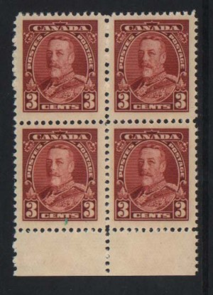 Canada #219c VF Mint Printed On Gum Side Block