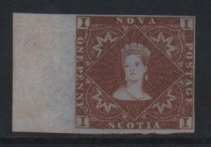 Nova Scotia #1 XF Mint Left Sheet Margin Example  **With Cert.**
