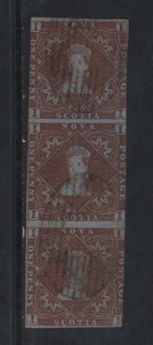 Nova Scotia #1 Used Showpiece Vertical Strip Of Three *With Cert.*
