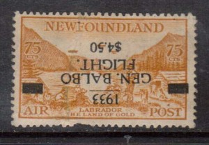Newfoundland #C18a (SG #235a) Mint Inverted Surcharge Variety **With Certificate**