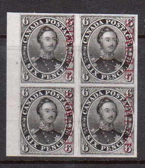 Canada #2TCix XF Proof Block In Black With Vertical Carmine Specimen On India Paper