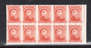 Newfoundland #33P XF Right Margin Imperf Proof Block Of Ten With Imprint