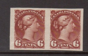 Canada #43b XF Mint Imperf Pair **With Certificate**