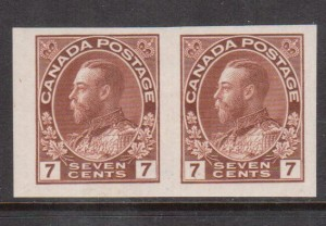 Canada #114a XF Mint Imperf Pair