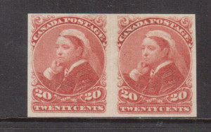 Canada #46a VF Mint Imperforate Pair **With Certificate**