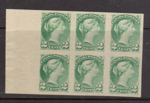 Canada #36a XF/NH Margin Block Of Six **With Certificate**