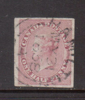 Canada #8 XF Used With Superb May 31 1858 S.O.N. CDS Cancel **With Cert.**