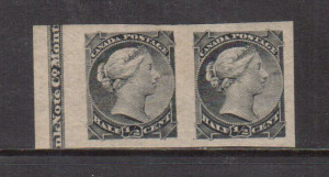 Canada #34a XF Mint Imprint Imperf Pair **With Certificate**