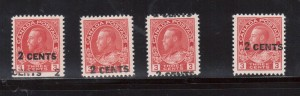 Canada #139i XF/NH Overprint Shifts Group Of Four