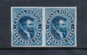 Canada #19b XF Mint Imperf Pair
