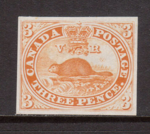 Canada #1TCvi XF Plate Proof In Orange Yellow On India Paper