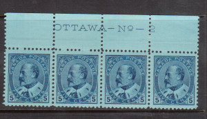 Canada #91 XF Mint Plate #2 Top Strip Of Four **With Certificate**