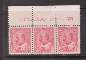 Canada #90 XF/NH Plate #75 Strip Of Three **With Certificate**