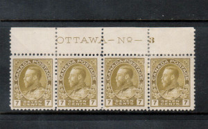 Canada #113iv Mint Plate #3 Strip Of Four **With Certificate**