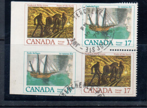 Canada #818c VF Used Imperf Block **With Certificate**
