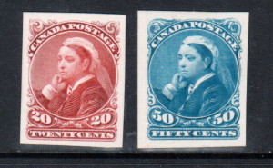 Canada #46P - #47P XF Plate Proof Set India Paper On Card