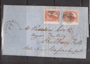 Canada #4 VF Used Two Sheet Margin Examples On Blue Folded Cover **With Cert.**