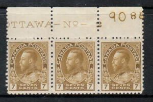 Canada #113b VF/NH Plate #2 Strip Of Three **With Certificate**